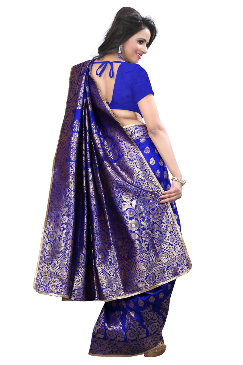 Buy Self Design Art Silk Blue Colour Banarasi Saree With Blouse For Women Online | Best Prices in India: Rediff Shopping