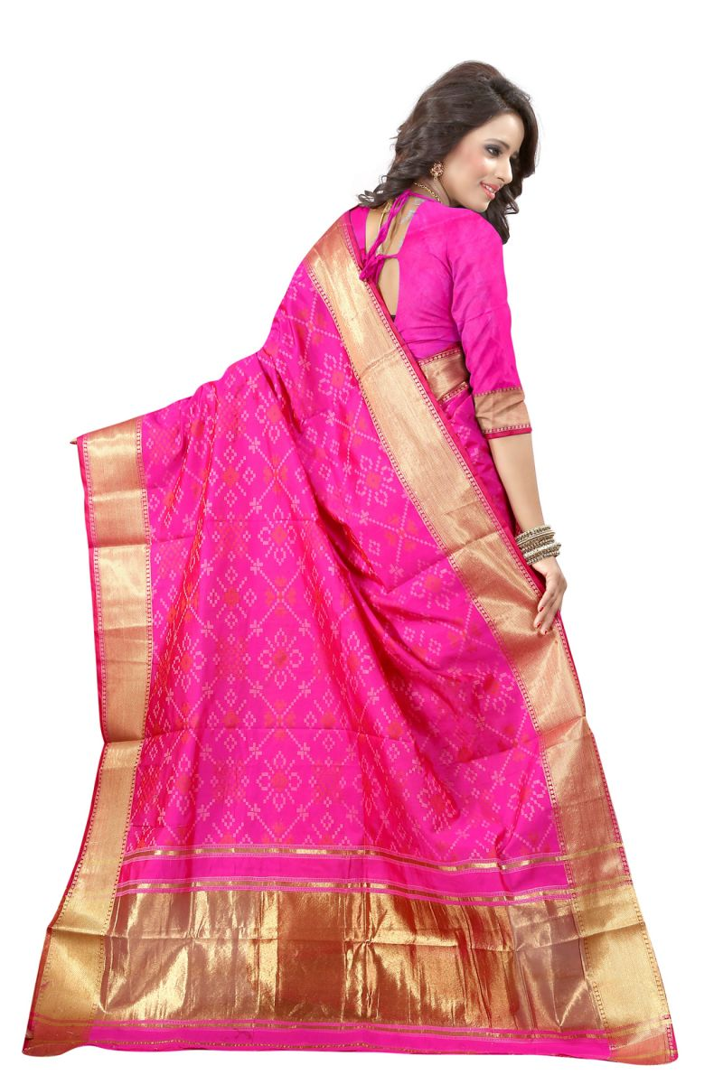 See More Self Design Rani Pink Color Banarasi Patola Saree 1 Online Best Prices In India Rediff Ping