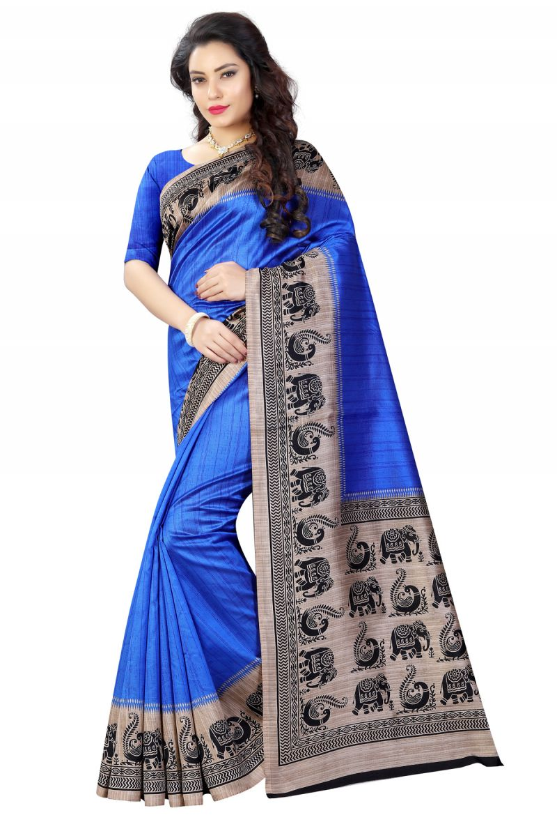 Buy See More Blue Color Printed Bhagalpuri Saree online