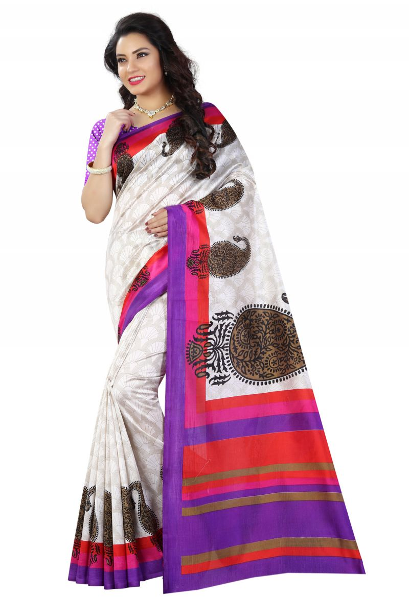 Buy See More White And Purple Color Printed Bhagalpuri Saree online