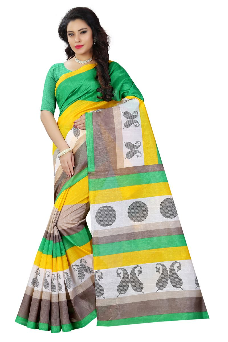 Buy See More Multicolor Color Printed Bhagalpuri Saree online