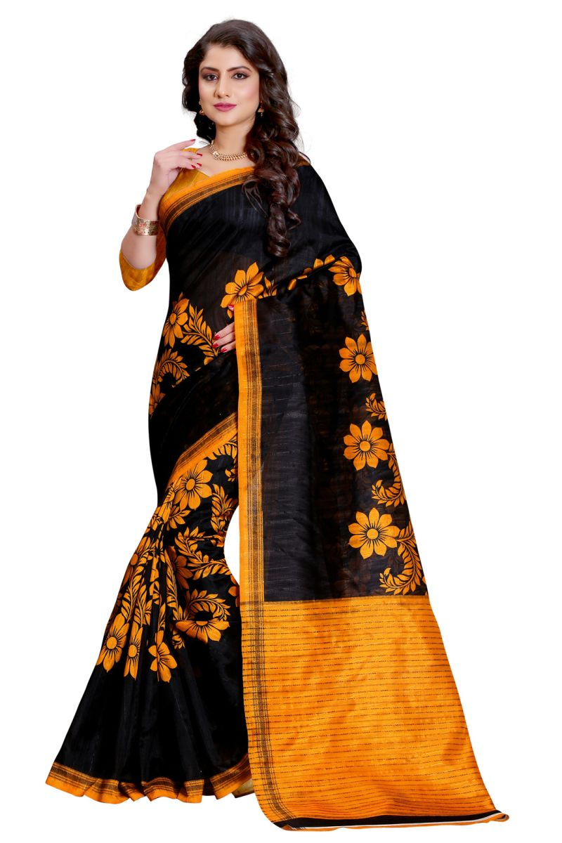 Buy See More Black Color Printed Bhagalpuri Saree online