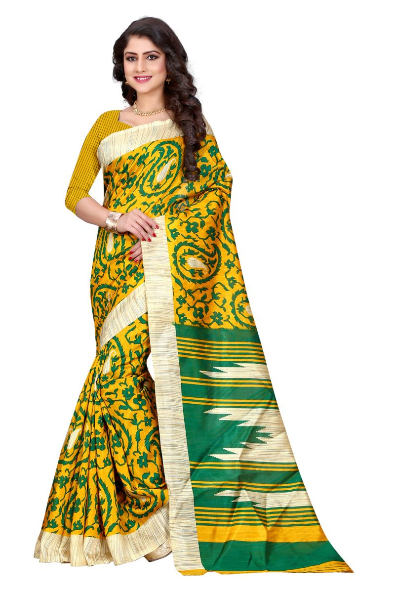 Buy See More Yellow Color Printed Bhagalpuri Saree online