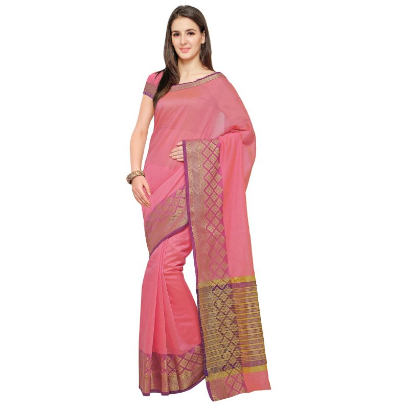 Buy See More Pink Colour Self Design Solid Poly Cotton Banarasi Saree online