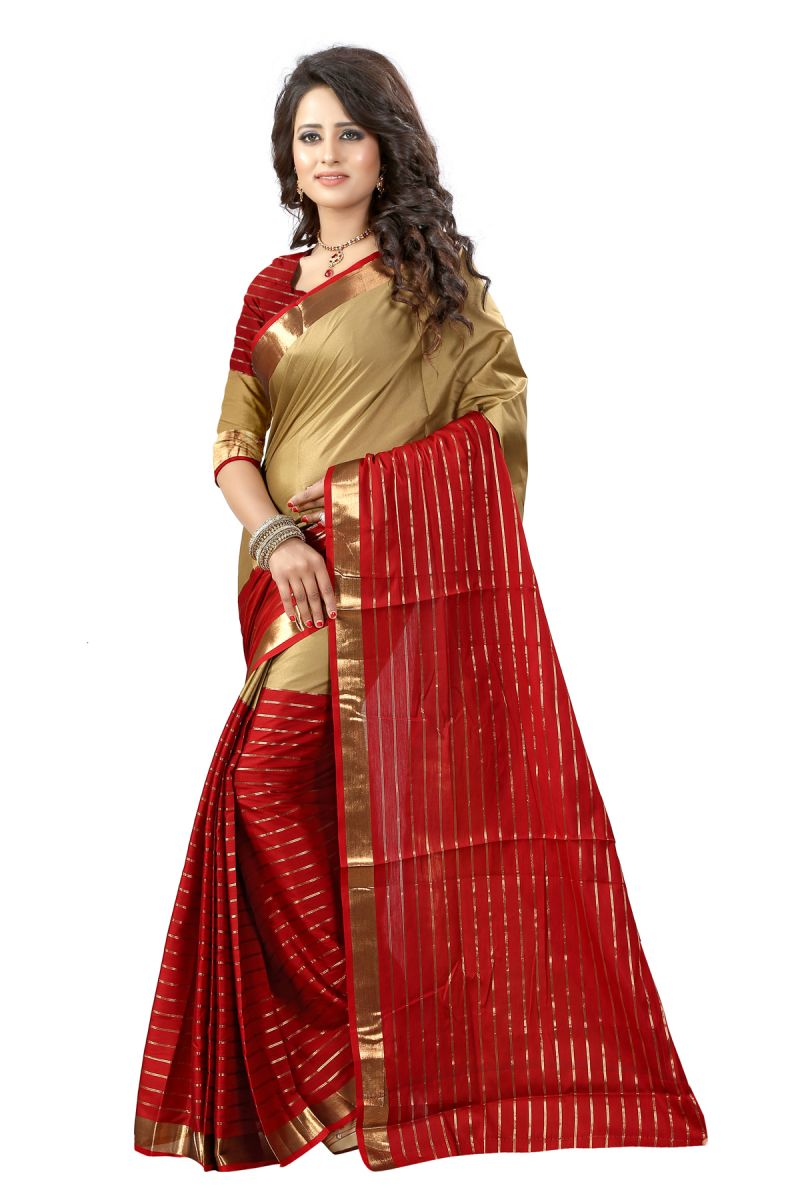 Buy See More Self Designer Maroon And Chiku Color Poly Cotton Saree With Blouse Piece Dj Chikku Maroon( Product Code - Dj Chikku Maroon) online