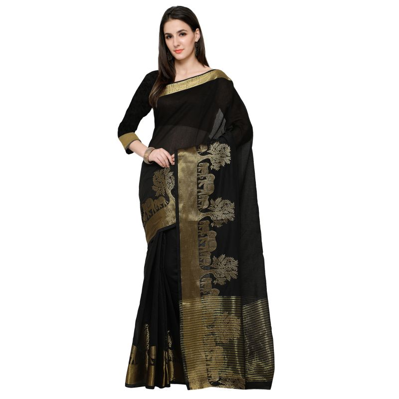 Buy See More Black Colour Self Design Solid Poly Cotton Banarasi Saree online
