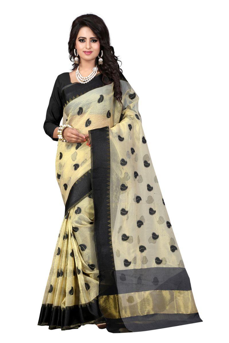 Buy See More Self Designer Color Black Cotton Saree With Golden Border Kavya 1 Black online