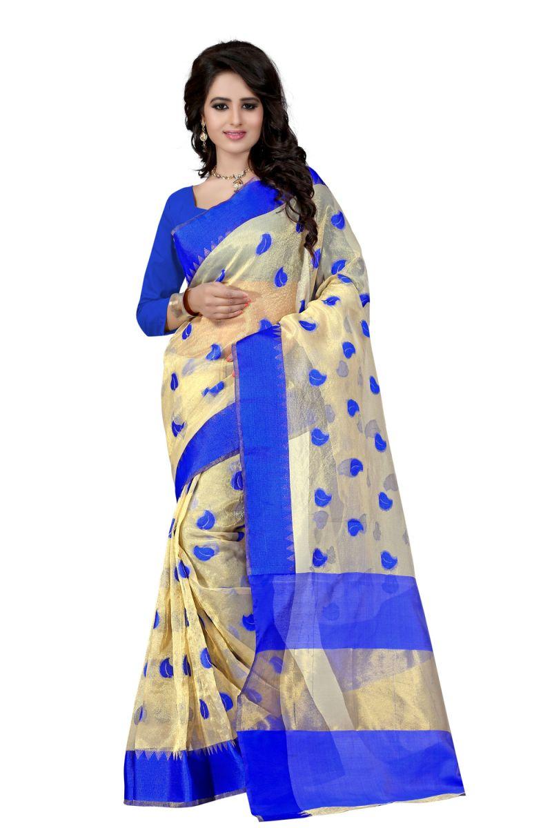 Buy See More Self Designer Color Blue Cotton Saree With Golden Border Kavya 1 Blue online