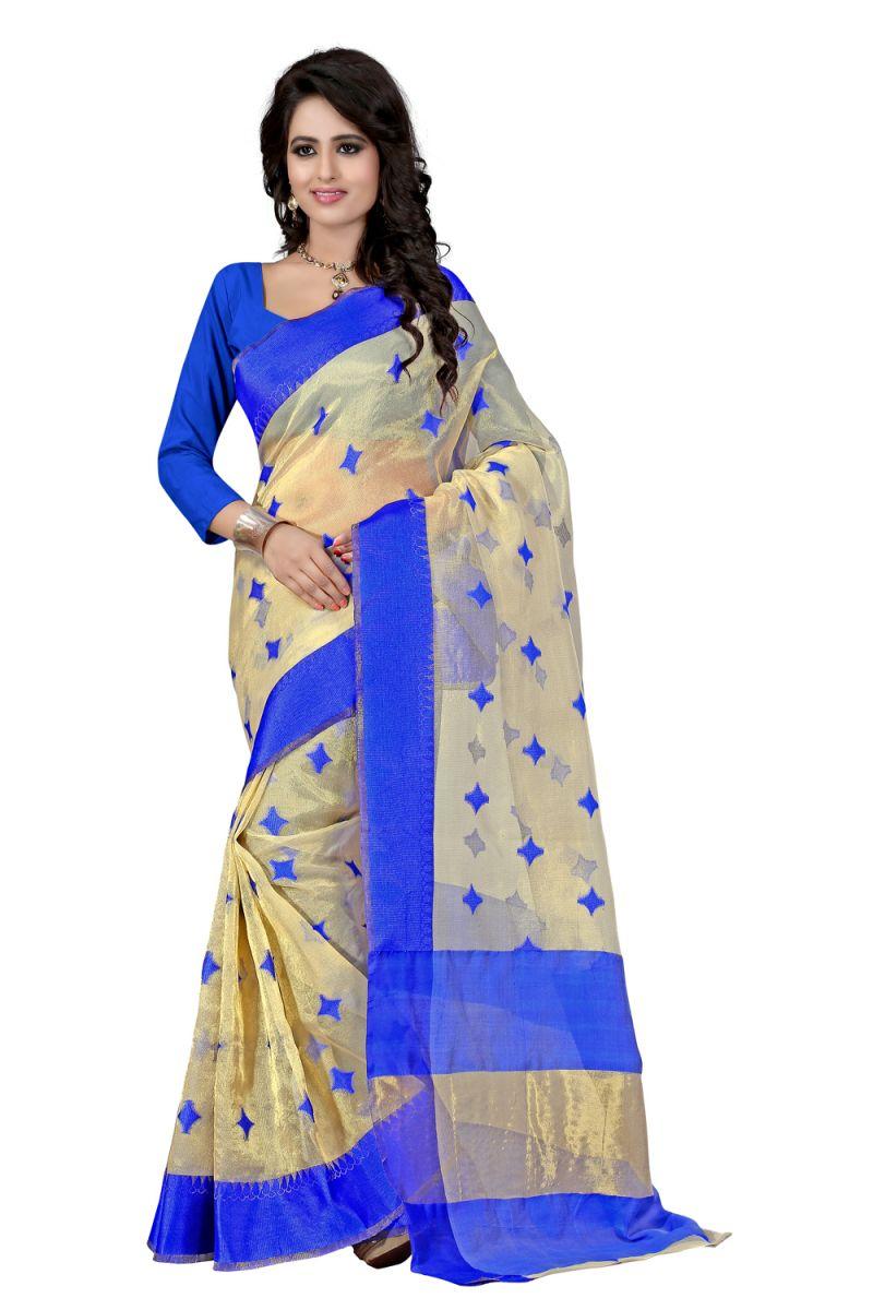 Buy See More Self Designer Color Blue Cotton Saree With Golden Border Kavya 3 Blue online