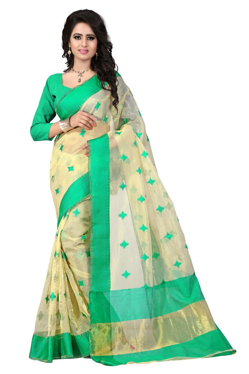 Buy See More Self Designer Color Green Cotton Saree With Golden Border Kavya 3 Green online