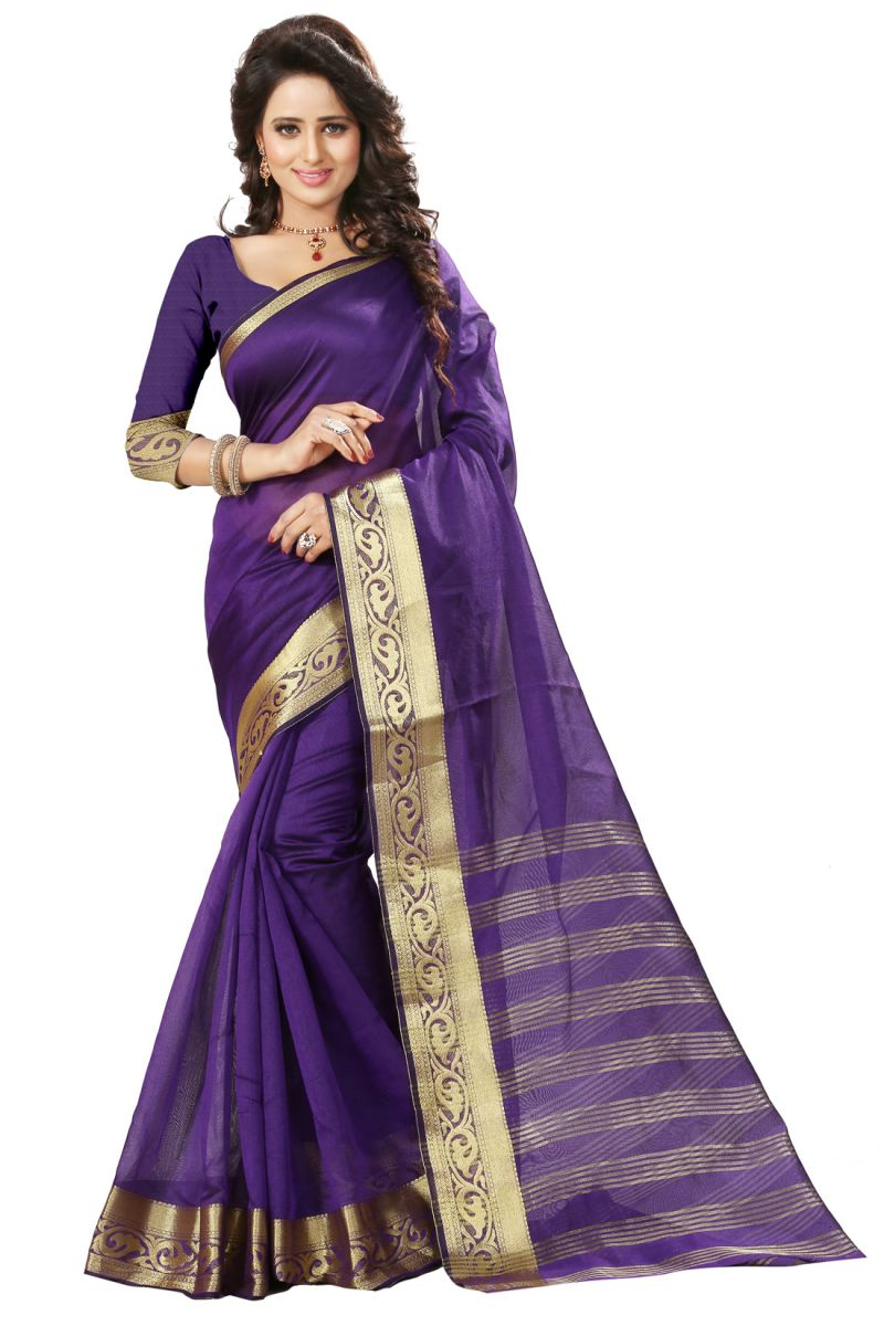 Buy See More Self Design Purple Color Art Silk Saree online