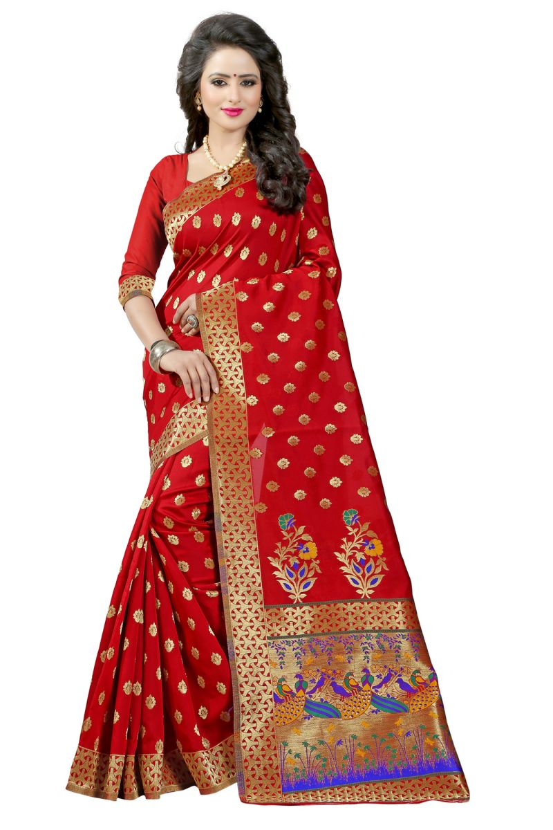Buy See More Red Color Paithani Silk Saree online