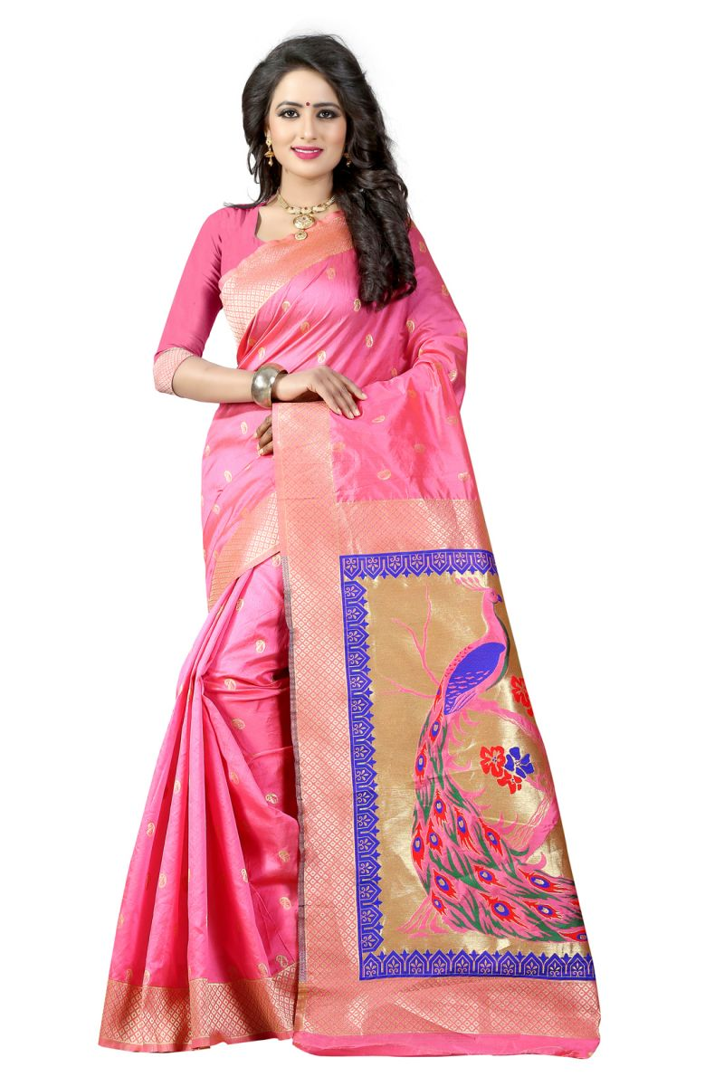 Buy See More Light Pink Color Paithani Silk Saree online
