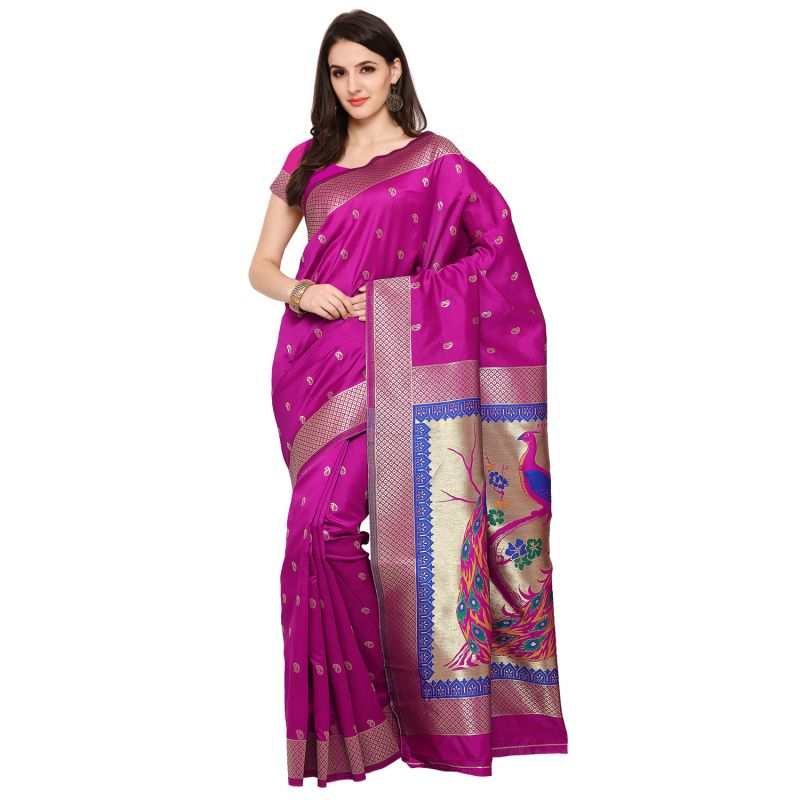 Buy See More Pink Colour Woven Work Art Silk Saree Paithani 5 Pink online