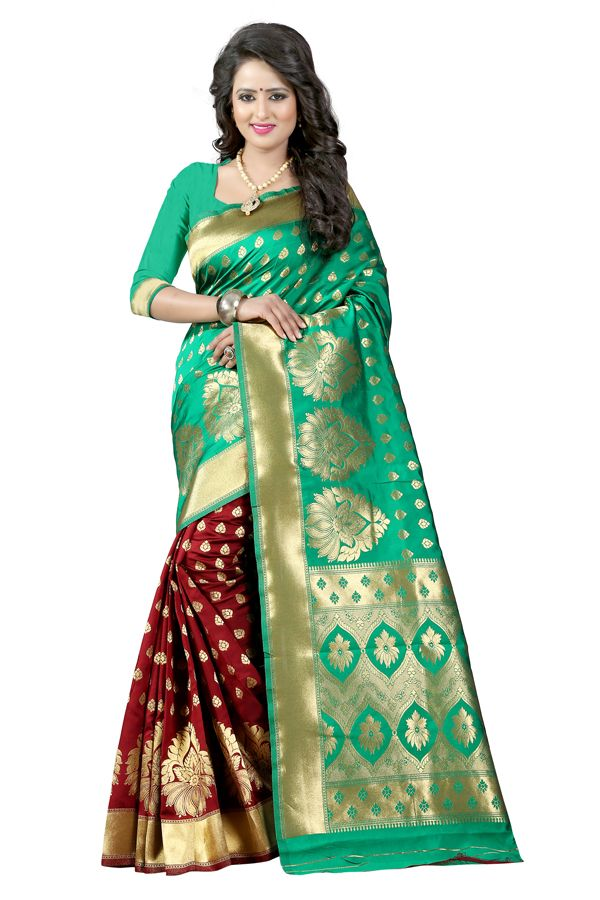 Buy See More Turquoise Color Self Design Art Silk Woven Work Saree online