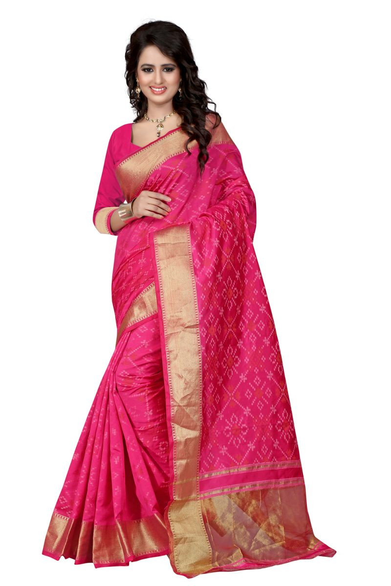 Buy See More Self Design Pink Color Banarasi Saree Raj Bandhej Pink online
