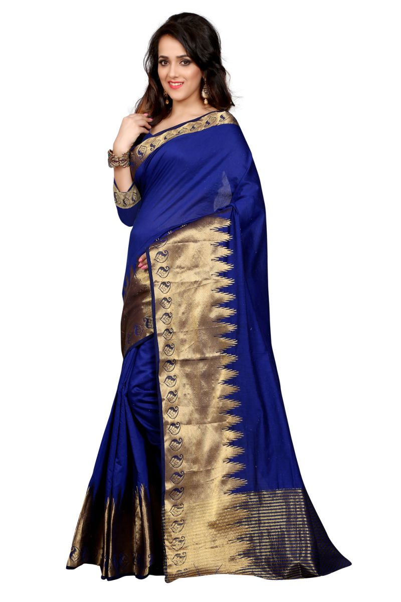 Buy See More Self Design Blue Colour Poly Cotton Banarasi Saree With Blouse For Women Raj_blue_kery online