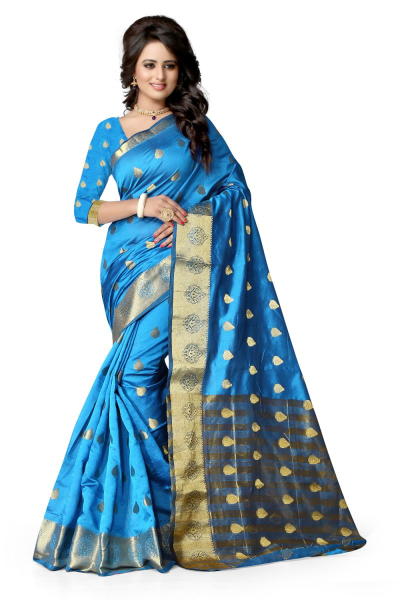 Buy See More Self Design Firozi Color Banarasi Saree Raj Butti Firozi. online