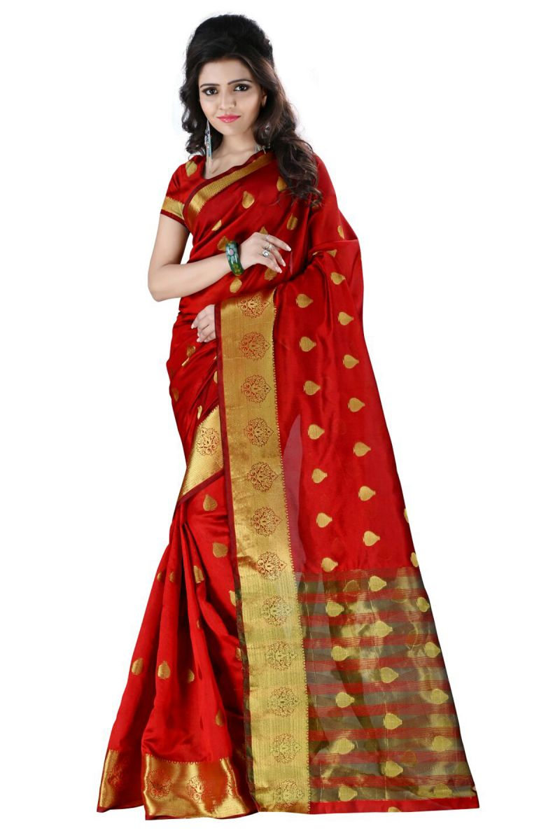 Buy Self Design Red Color Banarasi Art Silk Saree - Raj Butti Red online