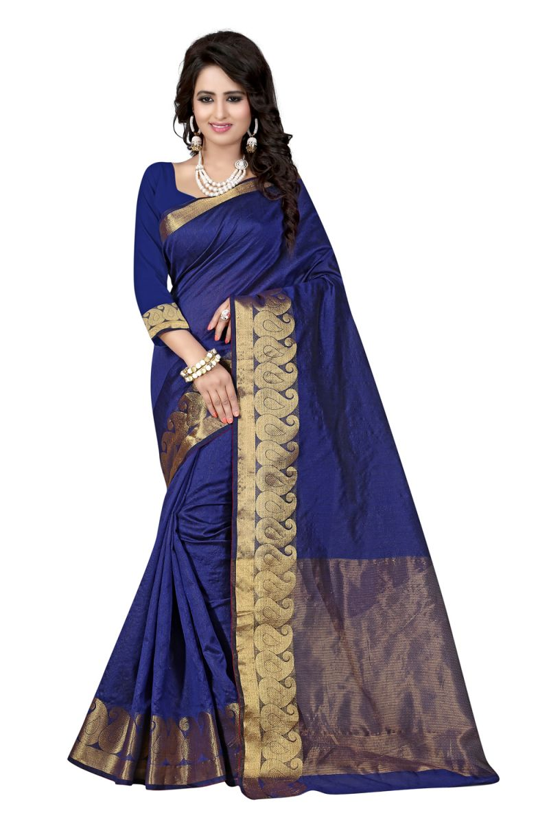 Buy See More Self Designer Blue Colour Cotton Saree With Golden Border Raj Kesar Blue online