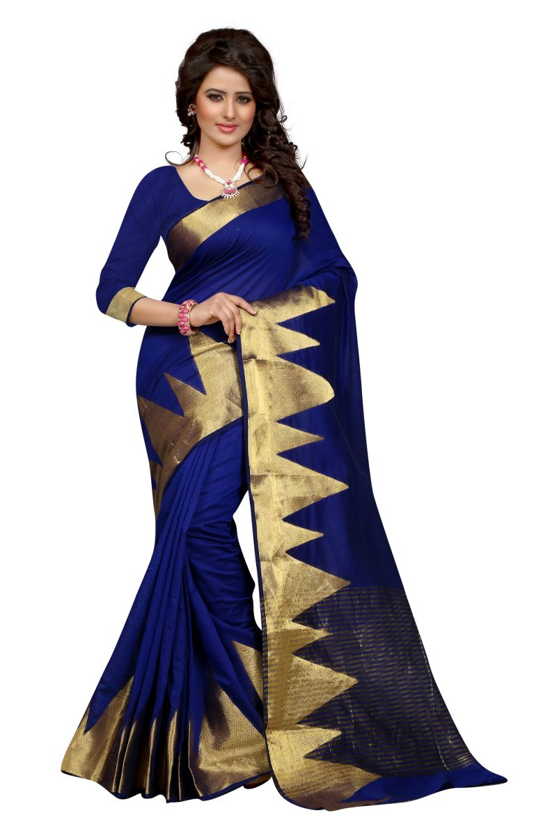 Buy See More Self Design Blue Colour Poly Cotton Banarasi Saree With Blouse For Women online