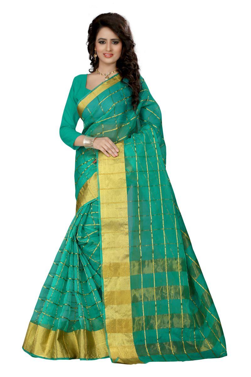 Buy See More Self Design Green Color Orgenza Saree Raj Orgenza Green online