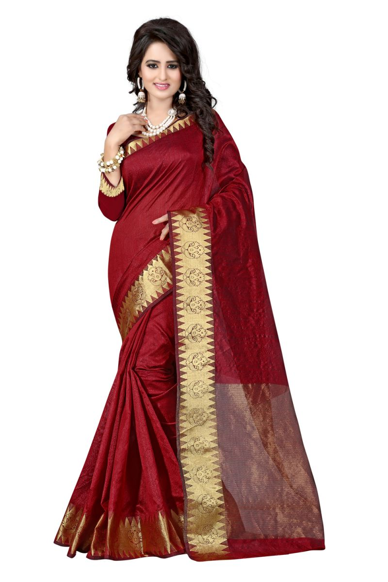 Buy See More Self Designer Maroon Colour Cotton Saree With Golden Border Raj Suryam Maroon online