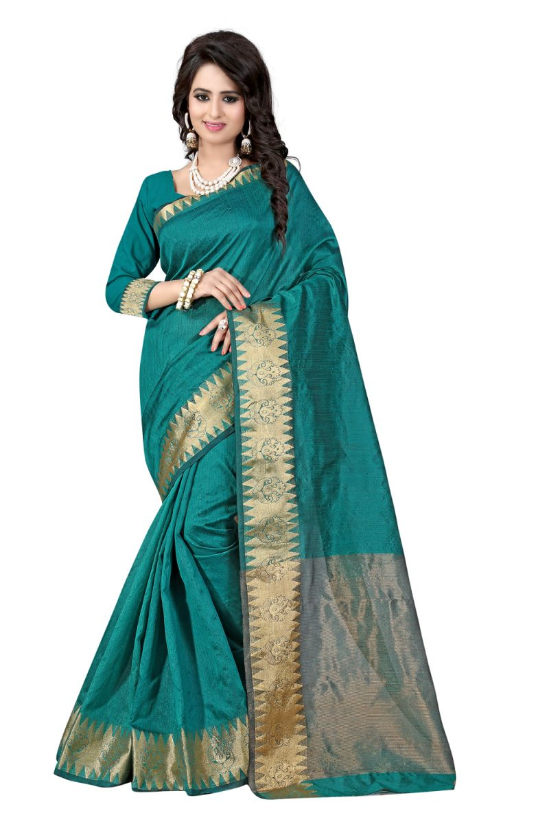 Buy See More Self Designer Rama Colour Cotton Saree With Golden Border Raj Suryam Rama online