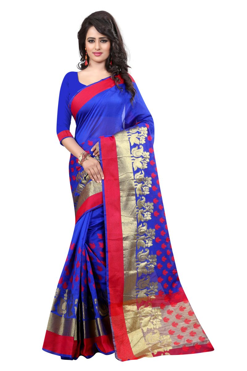 Buy See More Self Designer Blue Color Banarasi Poly Cotton Saree With Blouse Piece Sathiya Biba Blue online