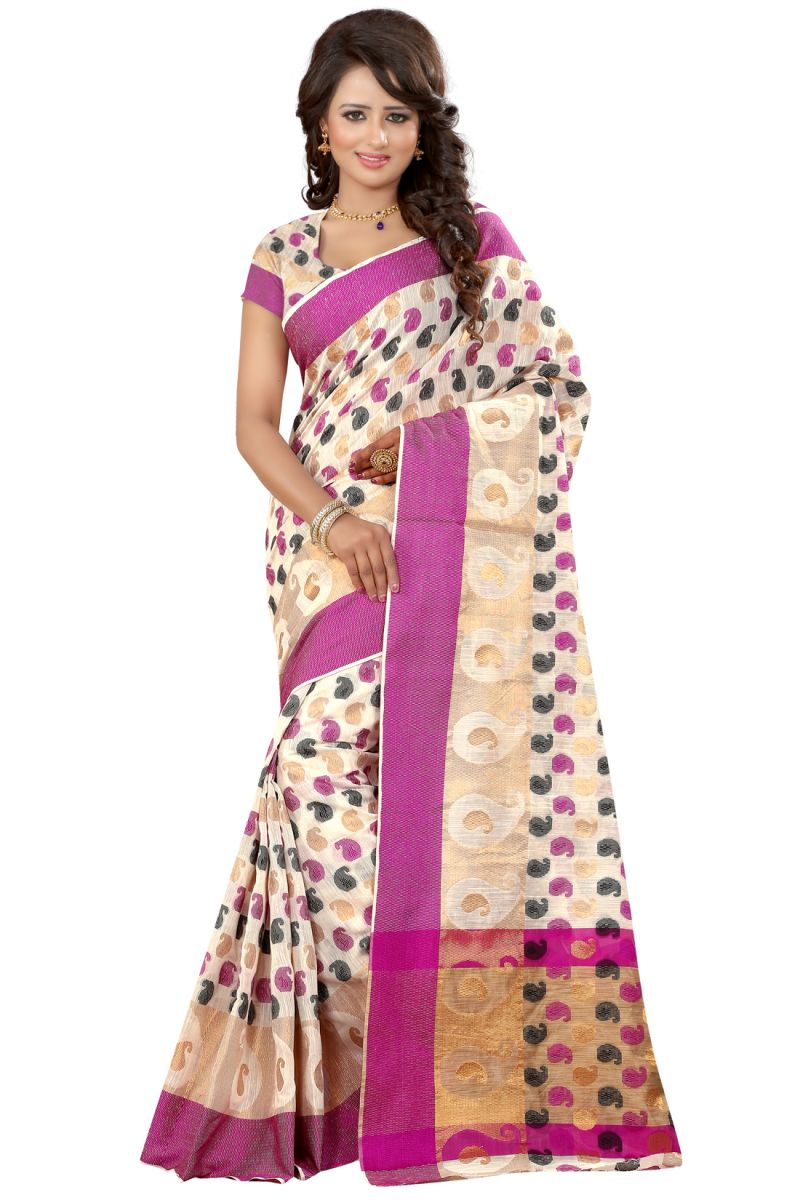 Buy See More Self Designer Pink Color Poly Cotton Saree With Blouse Piece online