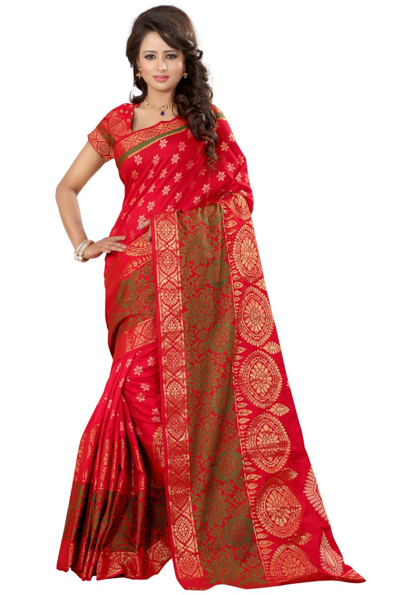 Buy See More Self Designer Red Color Kolam Patta Saree With Blouse Piece online