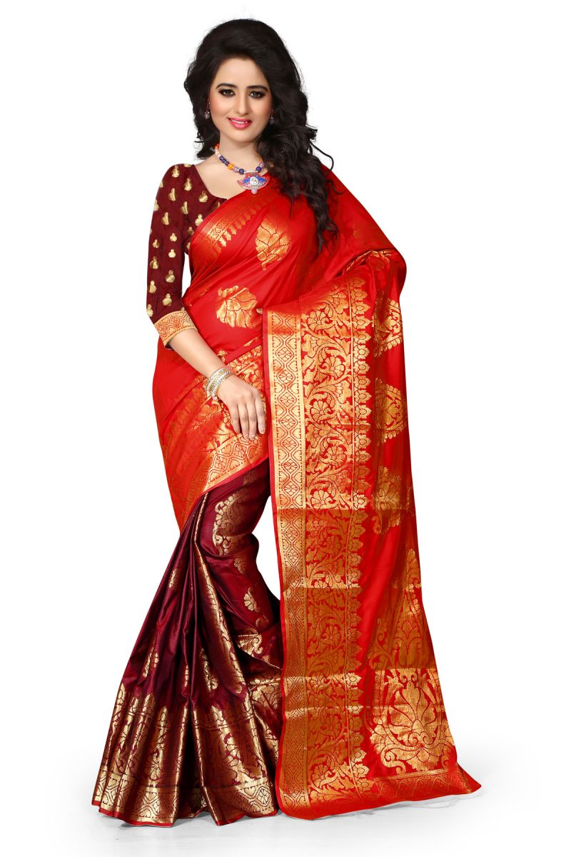 Buy See More Art Silk Banarasi Saree With Blouse For Women- Red And Maroon online
