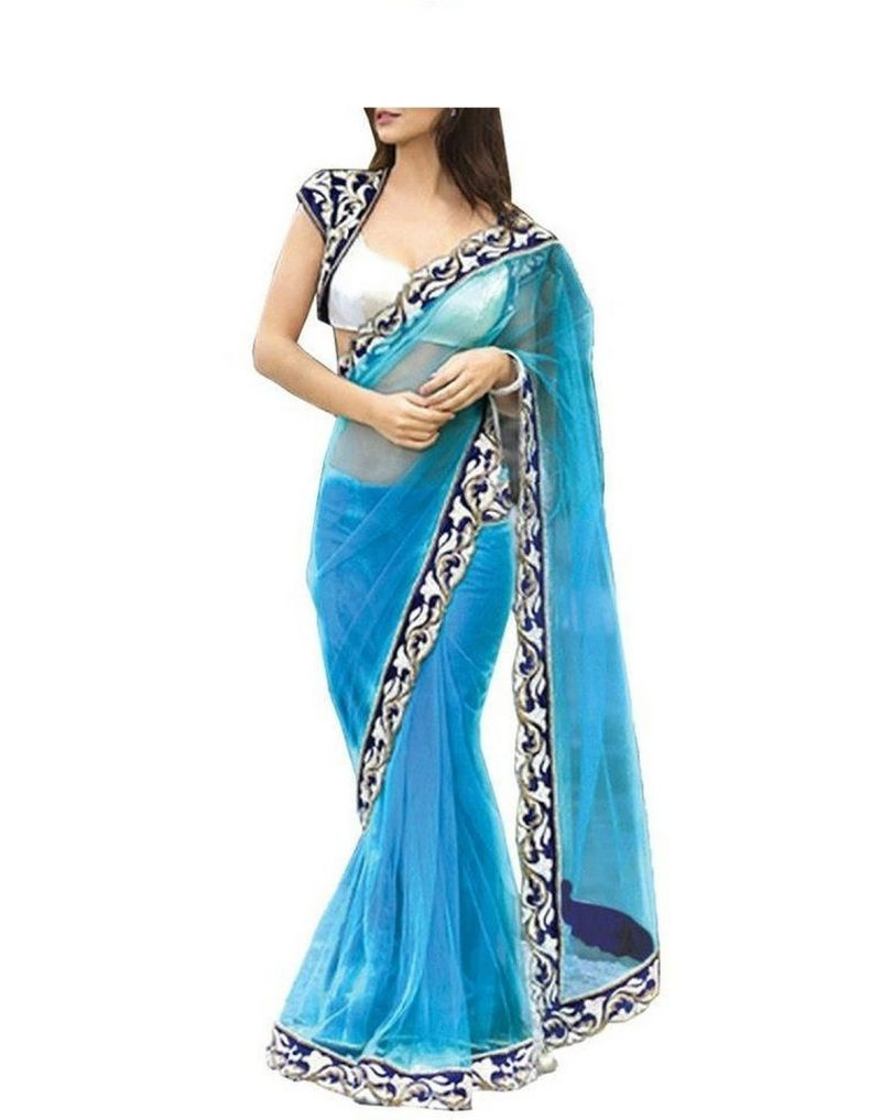 Buy See More Women's Beautiful See Blue Net Saree With Blouse Pics online