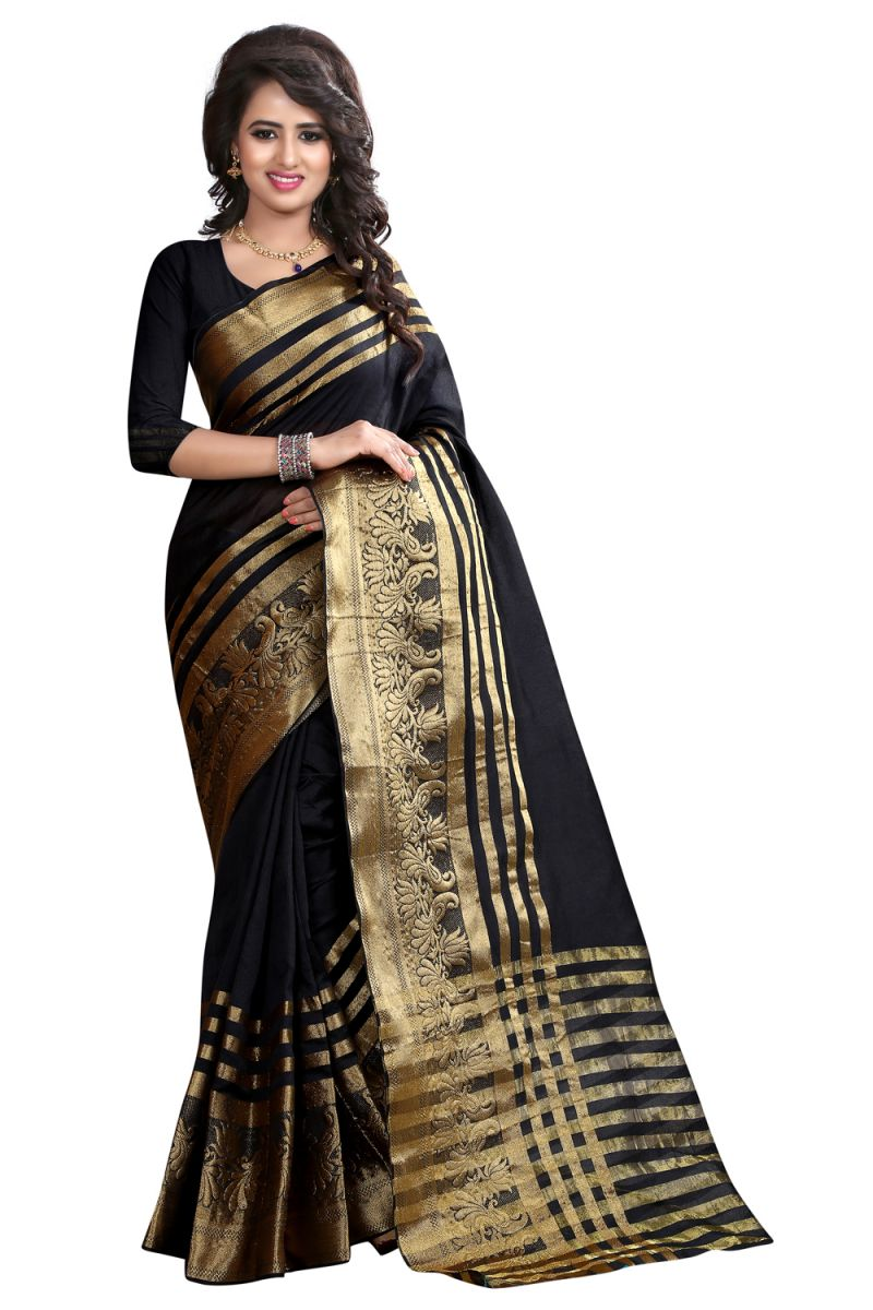 Buy See More Self Designer Black Color Banarasi Poly Cotton Saree With Blouse Piece Sultan Black online