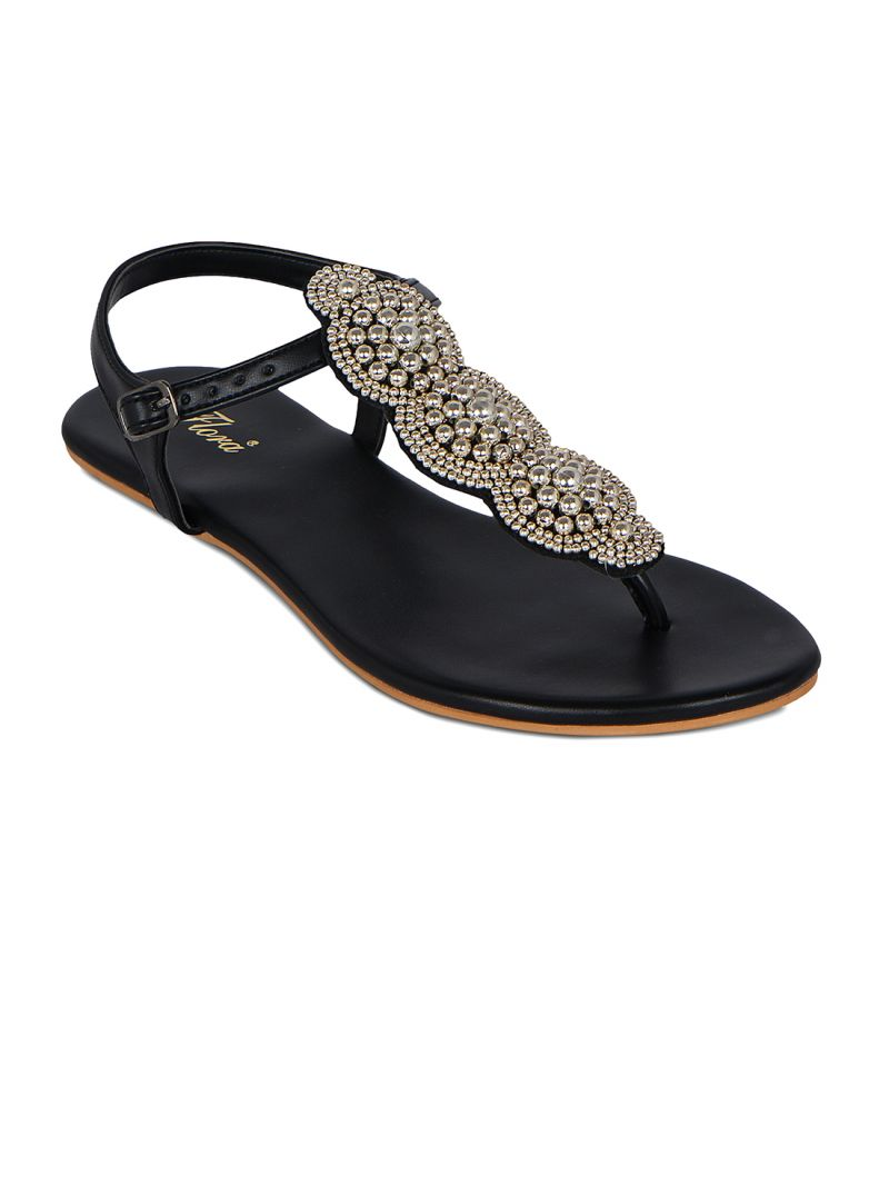 Buy Flora Black Synthetic Leather Casual Sandal For Women online