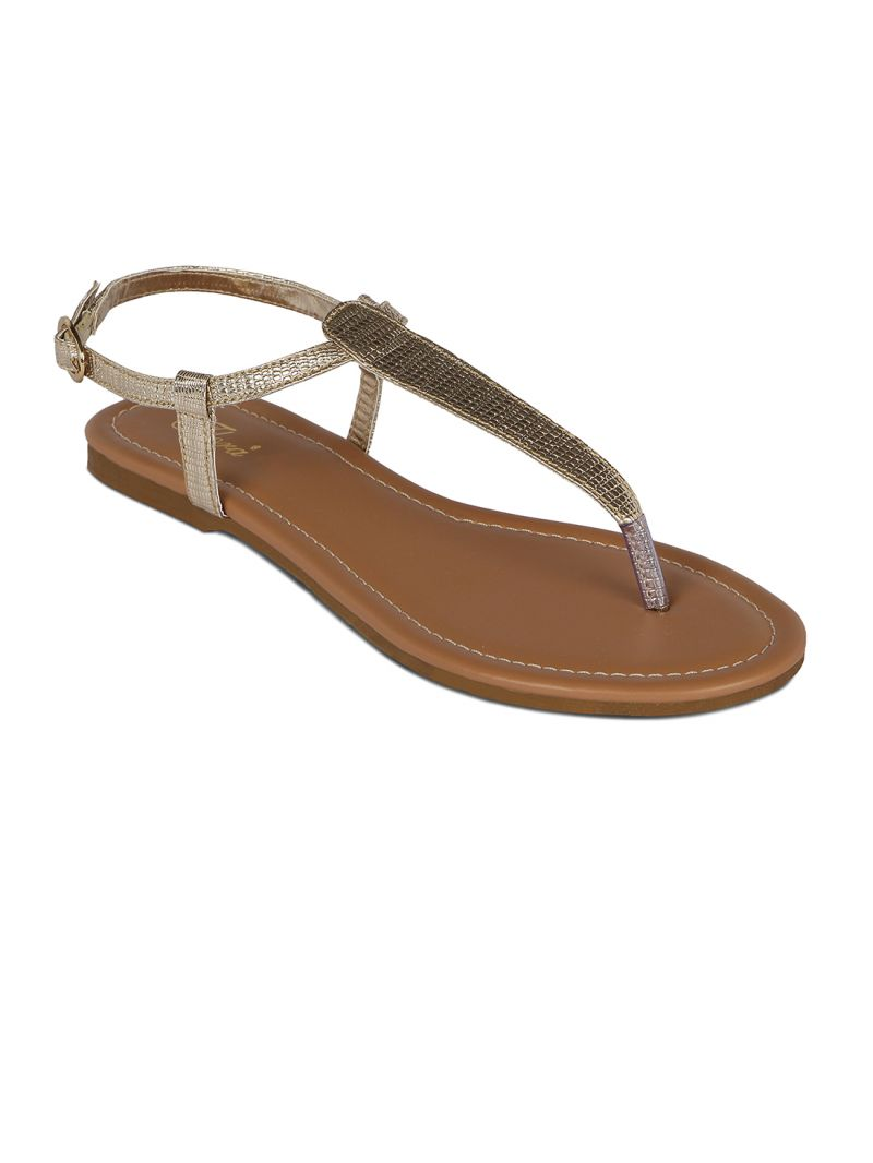 Buy Flora Gold Synthetic Leather  Flat Sandal For Women online