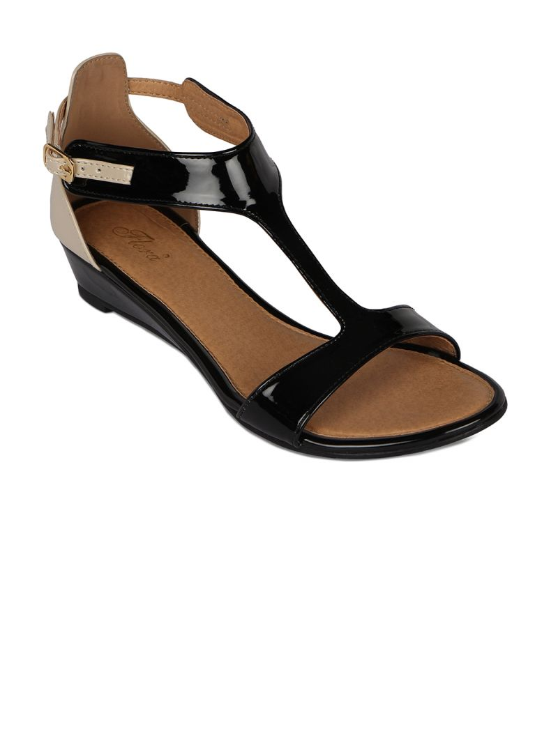 Buy Flora Black Synthetic Leather Wedges Sandal For Women online
