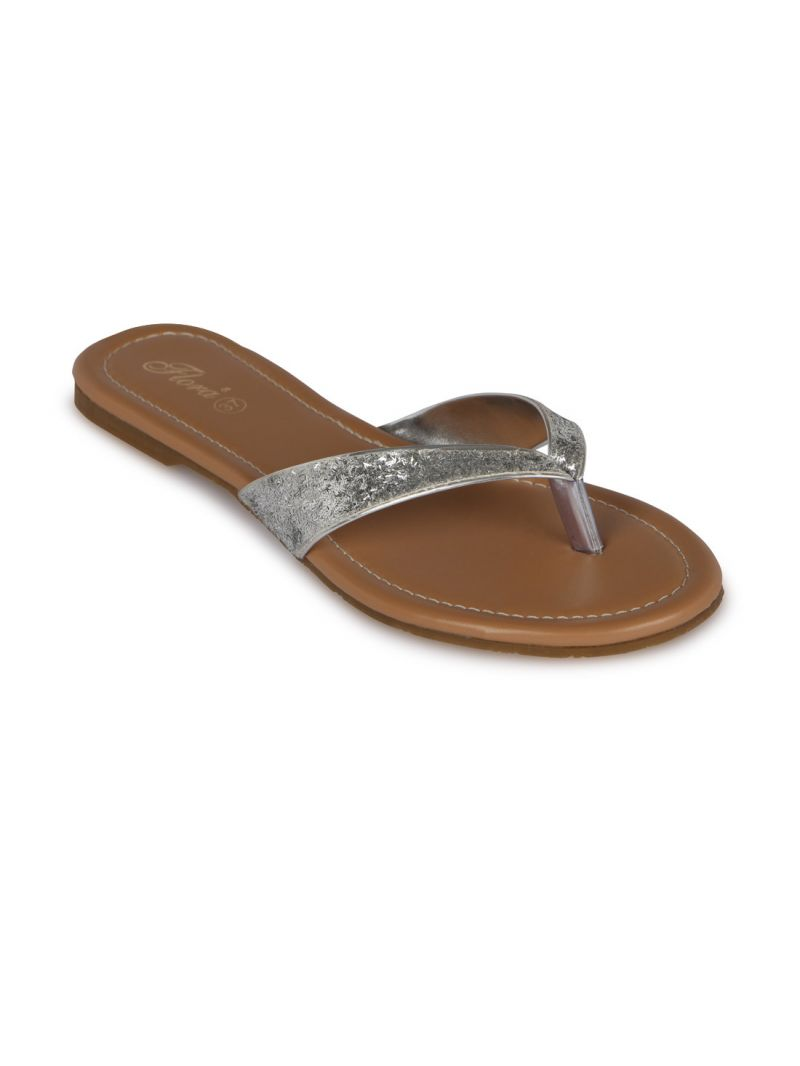 Buy Flora Silver Synthetic Leather Flat Slip-on For Women - (product Code - Pj-2141-21) online