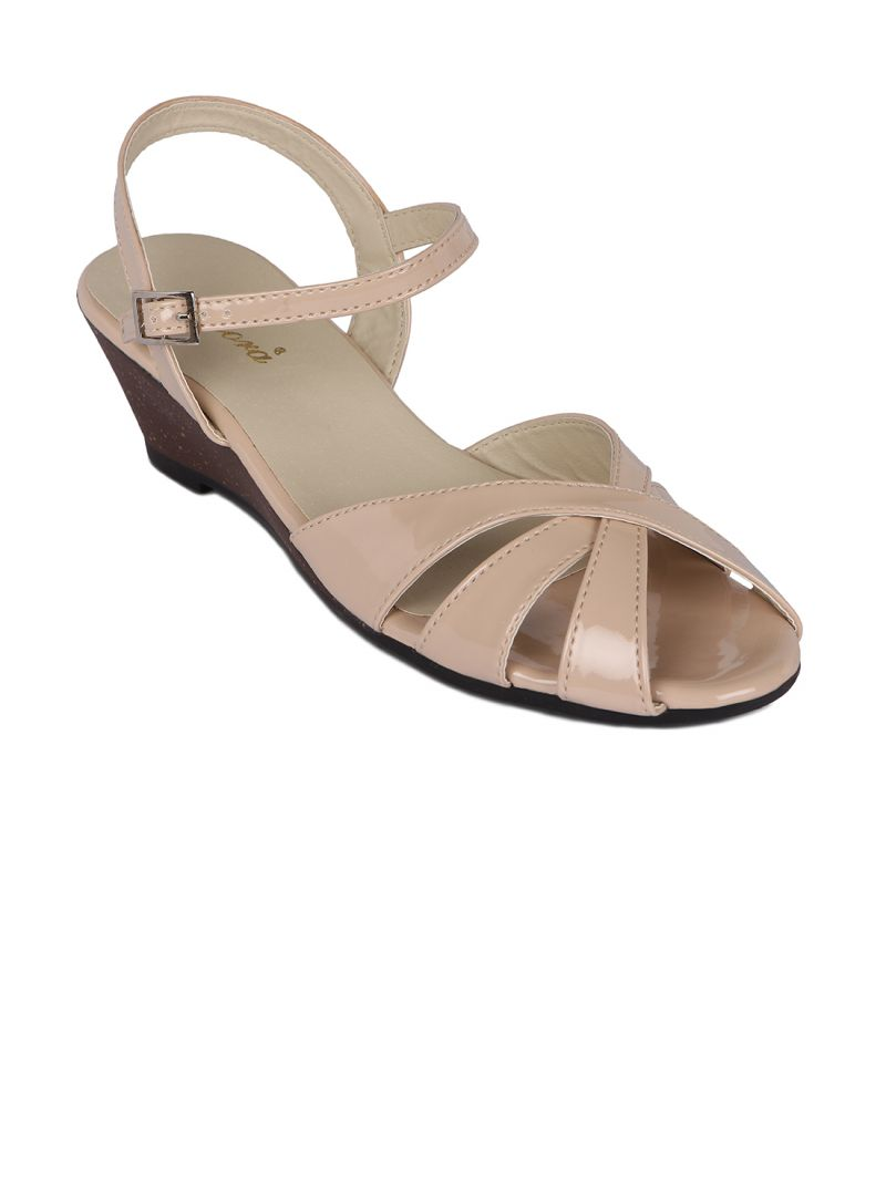Buy Flora Beige Synthetic Leather Wedges Sandal For Women online