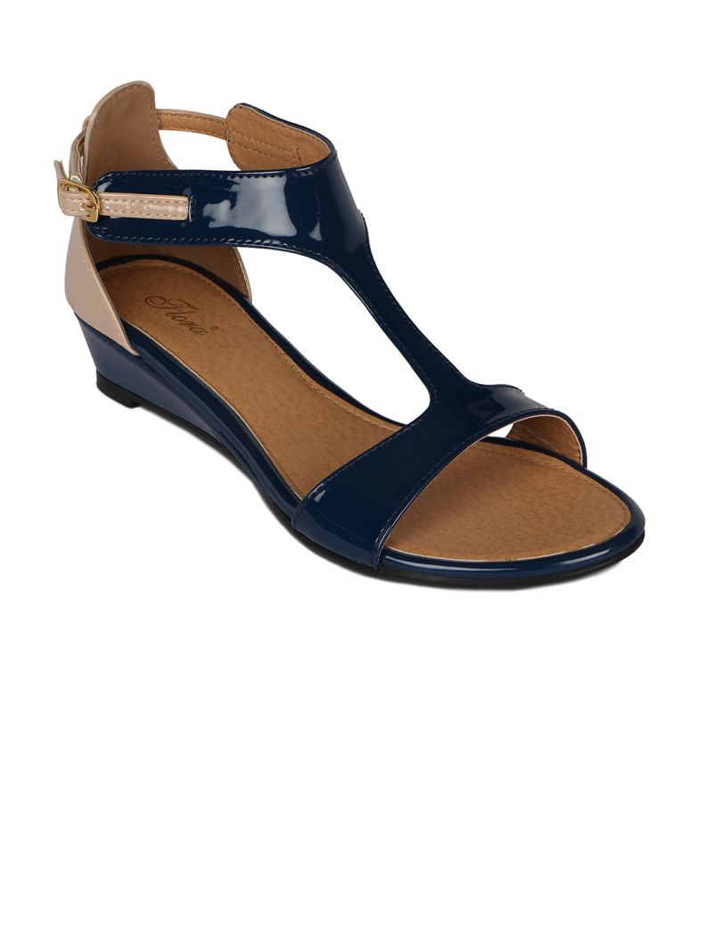 Buy Flora Blue Synthetic Leather Wedges Sandal For Women - (product Code - Fr-5082-18) online