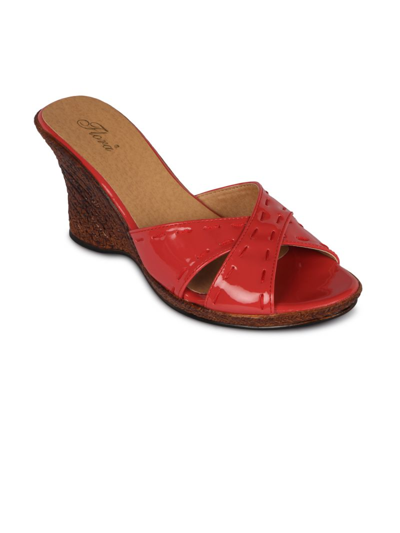 Buy Flora Red Synthetic Leather Wedges Sandal For Women online
