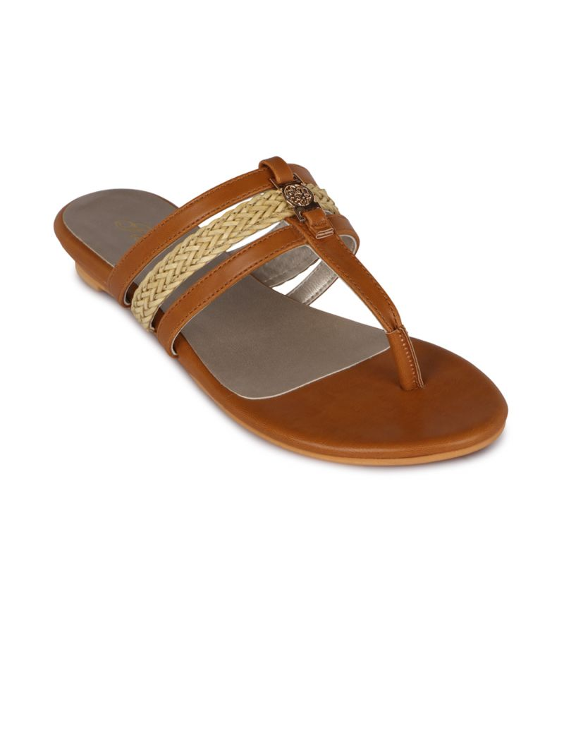 Buy Flora Tan Synthetic Leather  Flat Slip online