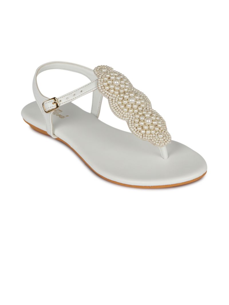 Buy Flora White Synthetic Leather Flat Sandal For Women - (product Code - Fr-4221-02) online
