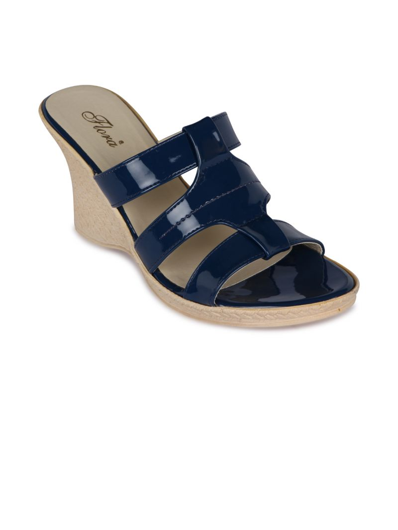Buy Flora Blue Synthetic Leather Wedges Sandal For Women online
