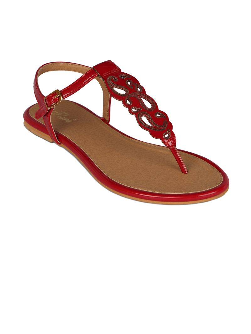 Buy Flora Red Synthetic Leather  Flat Sandal For Women online