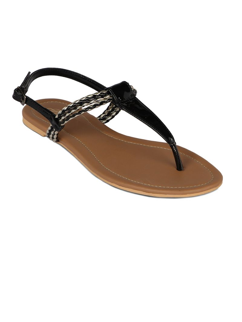Buy Flora Black Synthetic Leather  Flat Sandal For Women online
