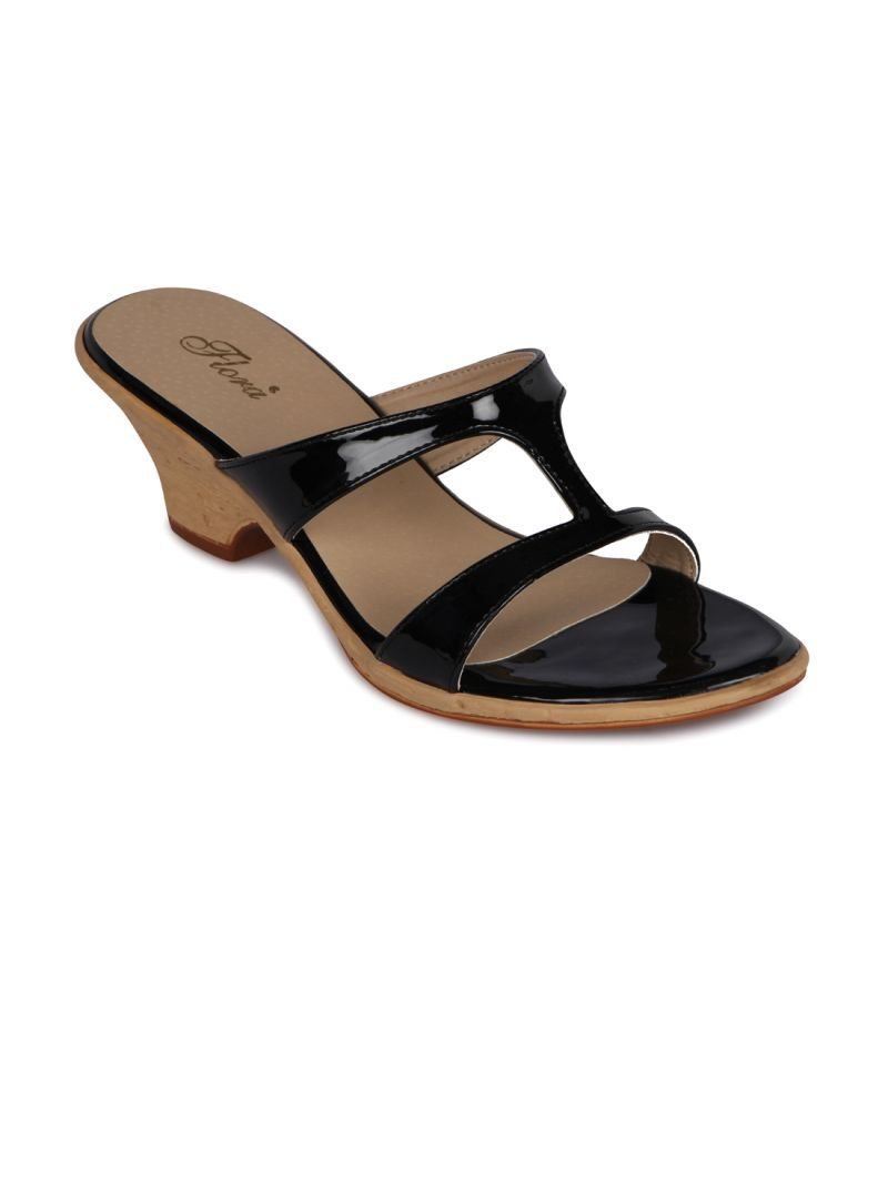 Buy Flora Black Synthetic Leather Heels Slip-on For Women - (product Code - Fr-3986-01) online
