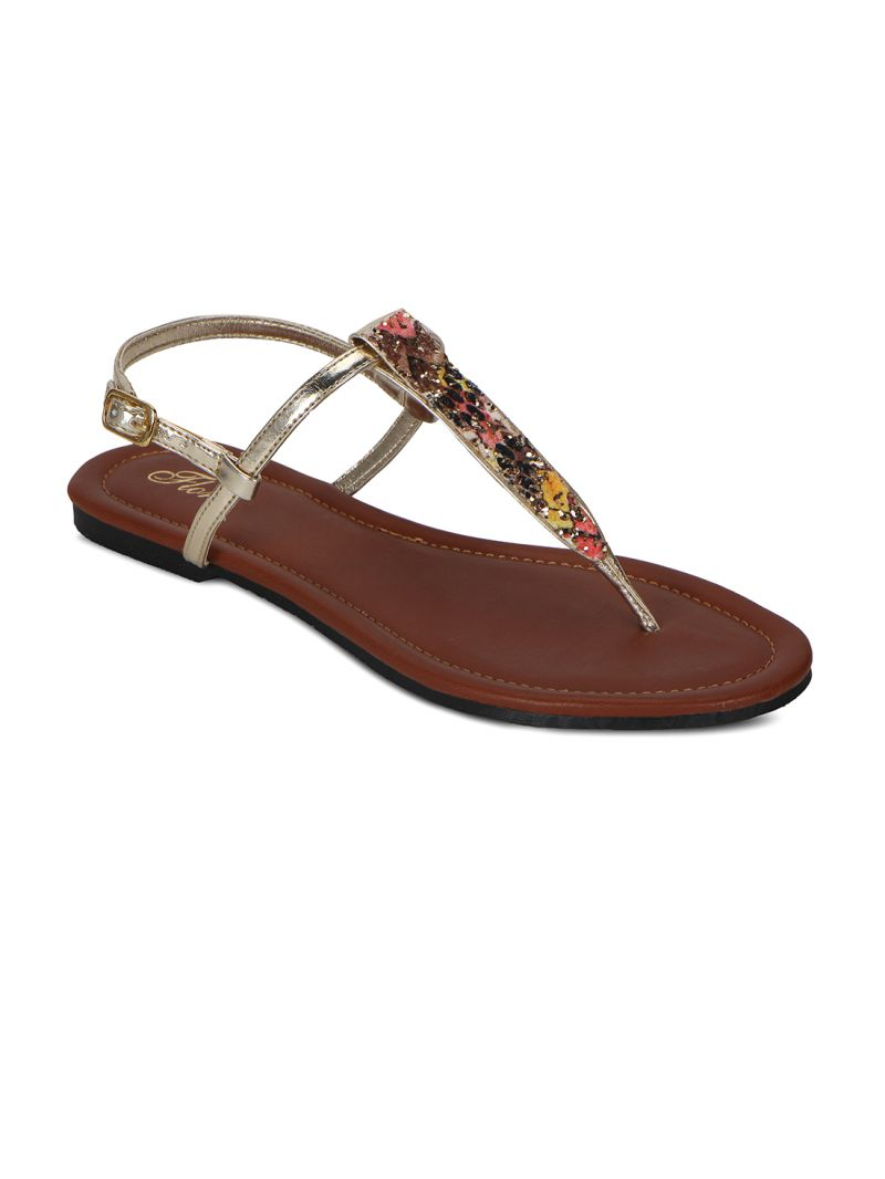 Buy Flora Green Synthetic Leather Sandal For Women online