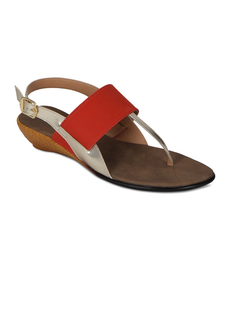 Buy Flora Orange Synthetic Leather Sandal For Women online