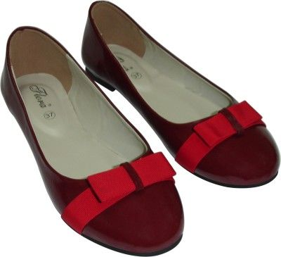 Buy Flora Red Artificial Leather Casual Bellies For Women online